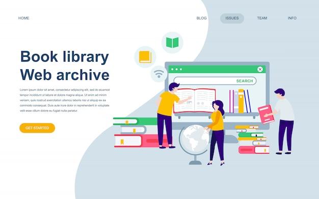 Modèle de conception de page web plat moderne de la bibliothèque de livres Vecteur Premium