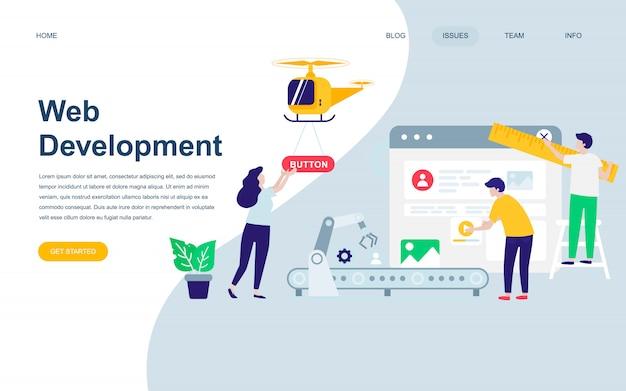Modèle de conception de page web plat moderne de développement web Vecteur Premium