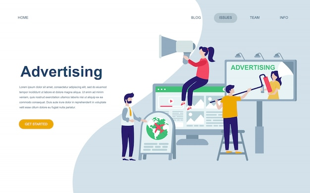 Modèle de conception de page web plat moderne de la publicité Vecteur Premium