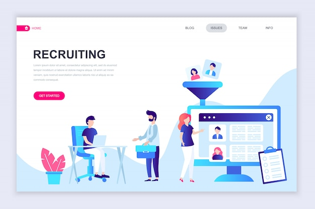 Modèle de conception de page web plat moderne de recrutement Vecteur Premium