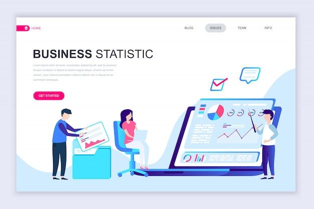 Modèle de conception de page web plat moderne de statistiques commerciales Vecteur Premium
