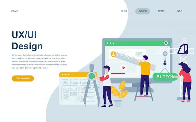 Modèle de conception de page web plat moderne de ux, ui design Vecteur Premium