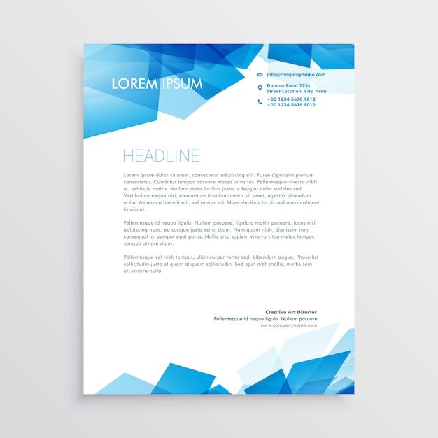 Modèle de conception de papier à en-tête abstrait bleu Vecteur gratuit