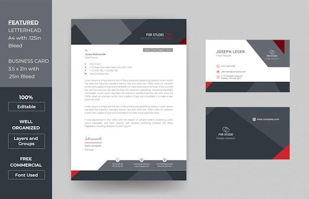 Modèle De Conception De Papier à En-tête Et De Carte De Visite Vecteur Premium