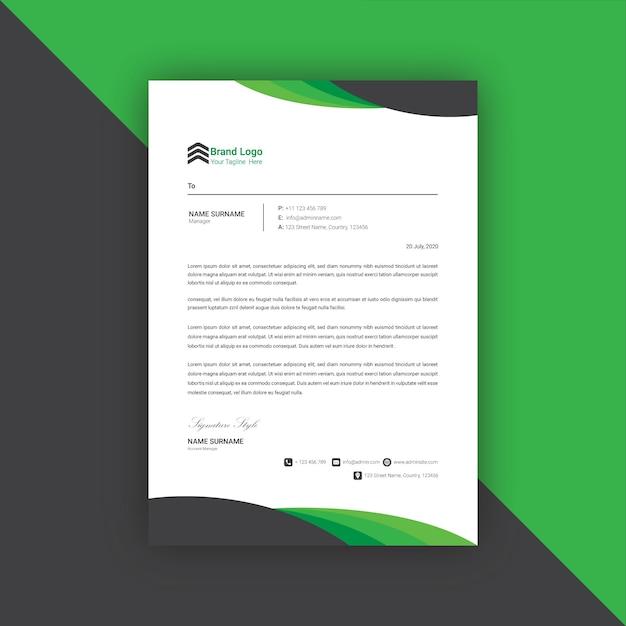 Modèle De Conception De Papier à En-tête Noir Et Vert Vecteur Premium