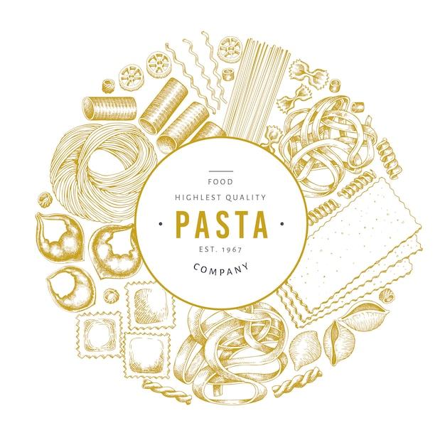 Modèle De Conception De Pâtes Italiennes Vecteur Premium