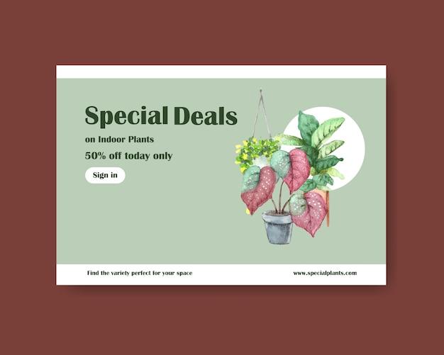 Modèle Avec Conception De Plantes D'été Pour Les Médias Sociaux, Internet, Web, Communauté En Ligne Et Publicité Illustration Aquarelle Vecteur gratuit