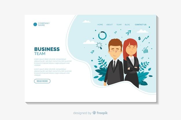 Modèle de conception plate de page de destination d'affaires Vecteur gratuit
