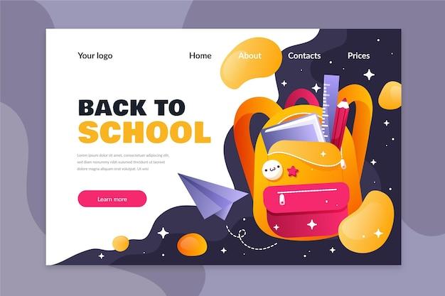 Modèle De Conception Plate De Retour à La Page De Destination De L'école Vecteur gratuit