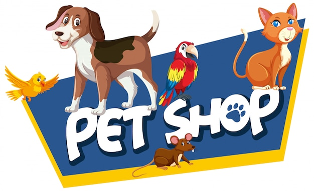 Modèle De Conception De Polices Pour Word Pet Shop Avec De Nombreux Animaux Vecteur Premium