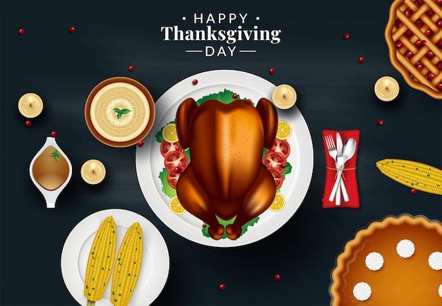 Modèle de conception pour l'invitation de dîner de thanksgiving. illustration vectorielle Vecteur Premium