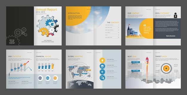 Modèle de conception de rapport annuel Vecteur Premium