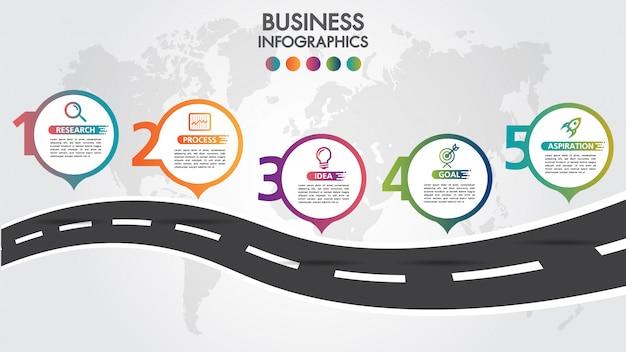 Modèle de conception de route entreprise infographie avec pointeur coloré épingle icônes et 5 options de nombres. Vecteur Premium