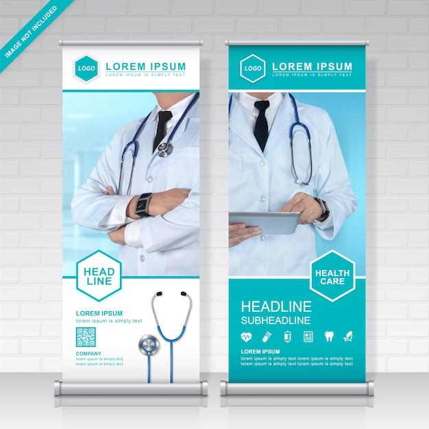 Modèle de conception de soins de santé et médical roll up Vecteur Premium