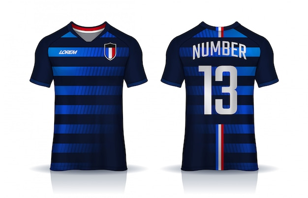 Modèle de conception sport t-shirt, maillot de football pour club de football. uniforme devant et dos. Vecteur Premium