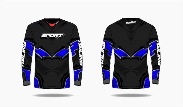 Modèle De Conception De Sport De T-shirt, Vue Avant Et Arrière Uniforme De Modèle à Manches Longues. Vecteur Premium