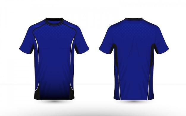 Modèle de conception de t-shirt e-sport de mise en page bleu blanc et noir Vecteur Premium