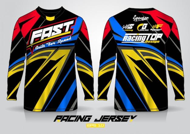 Modèle de conception de t-shirt à manches longues, devant et dos uniformes Vecteur Premium