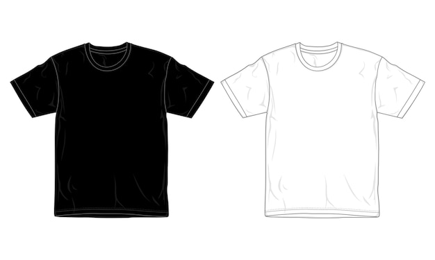 Modèle De Conception De T-shirt Noir Et Blanc, Vecteur Premium