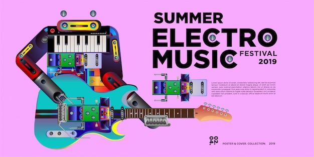 Modèle de conception de vecteur été electro festival musique bannière Vecteur Premium