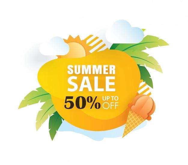 Modèle de coupe papier affiche de vente de l'été. Vecteur Premium