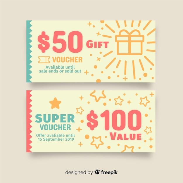 Modèle de coupon créatif Vecteur gratuit