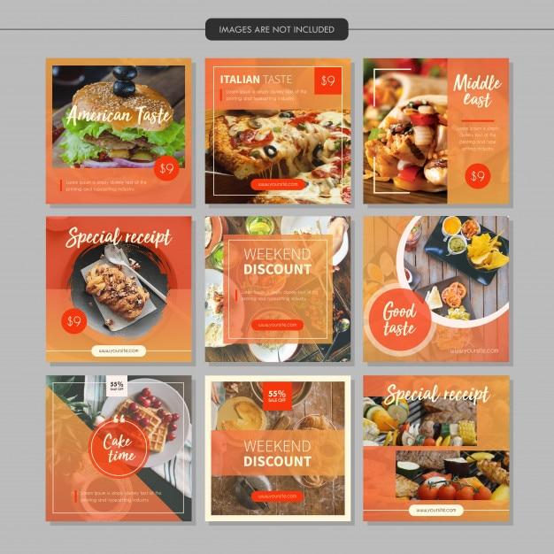 Modèle de courrier de médias sociaux de restaurant alimentaire Vecteur Premium
