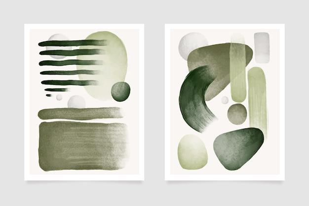 Modèle De Couverture Aquarelle Abstraite Gris Et Vert Vecteur gratuit