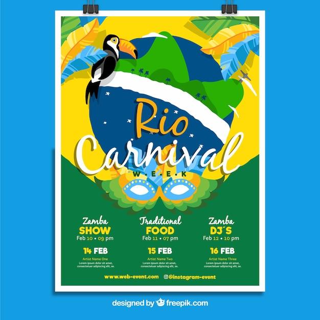 Modèle de couverture de carnaval brésilien Vecteur gratuit