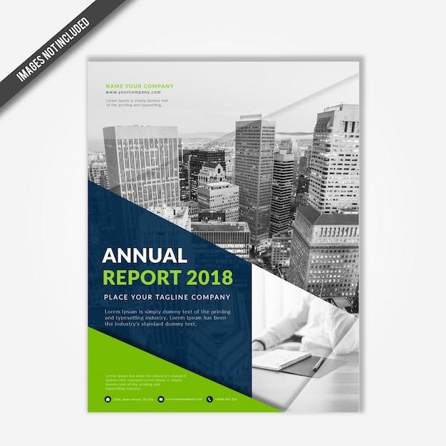 Modèle de couverture de l'entreprise moderne rapport annuel 2018 avec vert et bleu marine Vecteur Premium
