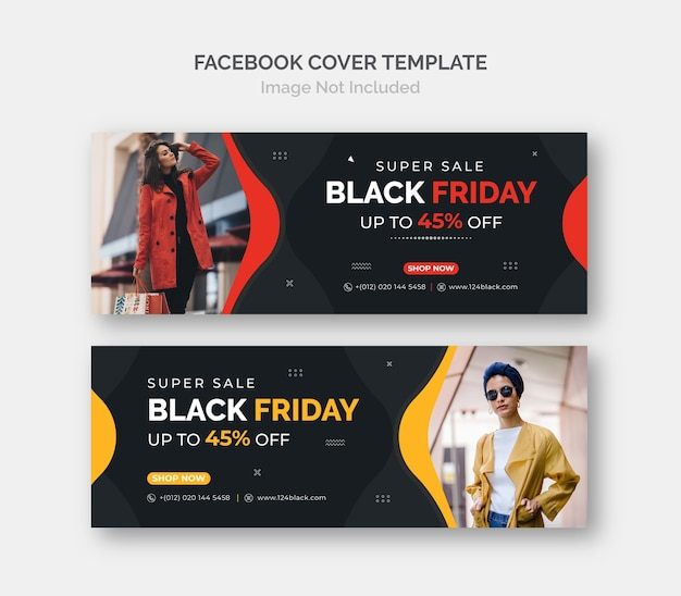 Modèle De Couverture Facebook De Bannière De Vente Promotionnelle Black Friday Business. Vecteur Premium