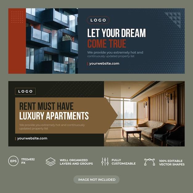 Modèle De Couverture Facebook Immobilier Vecteur Premium