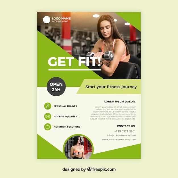 Modèle De Couverture De Gym Vert Moderne Avec L'image De La Femme Vecteur gratuit