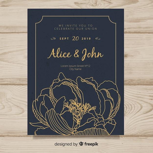 Modèle De Couverture D'invitation De Mariage Avec De Belles Fleurs De Pivoine Vecteur gratuit