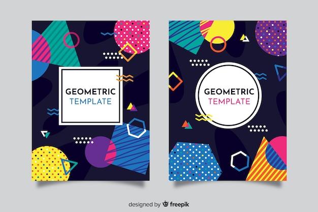 Modèle de couverture avec jeu de conception géométrique Vecteur gratuit