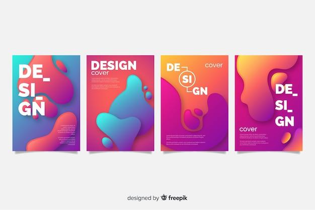 Modèle de couverture avec jeu de dessin abstrait Vecteur gratuit