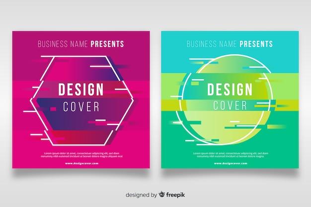Modèle de couverture avec jeu d'effet glitch coloré Vecteur gratuit