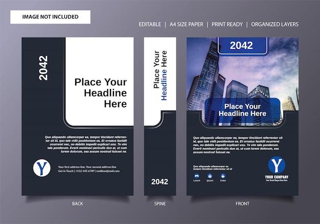 Modèle de couverture de livre bleu foncé simple Vecteur Premium