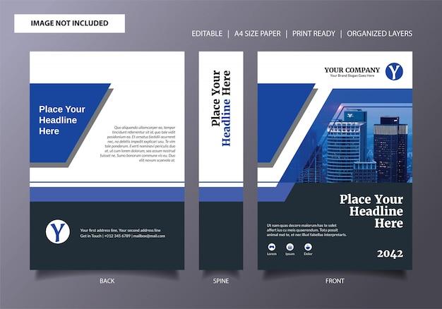 Modèle de couverture de livre bleu à rayures flash Vecteur Premium