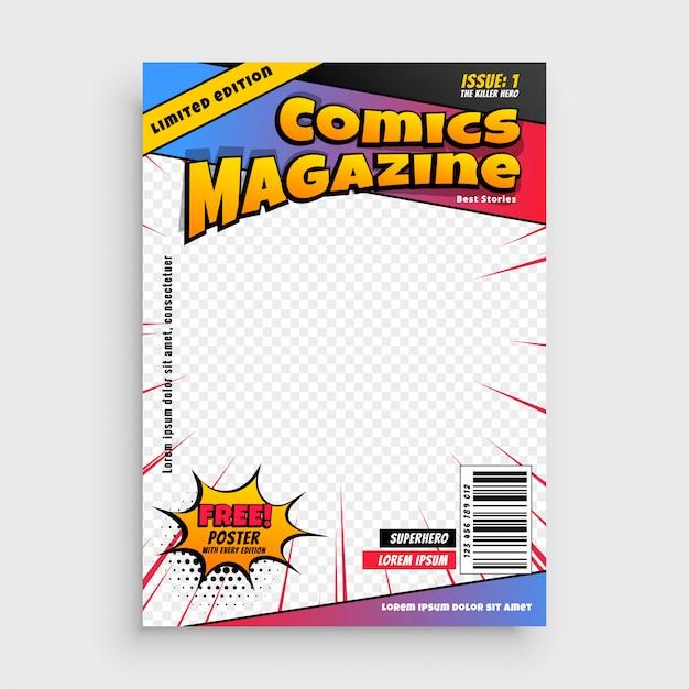 Modèle de couverture de livre comique Vecteur gratuit