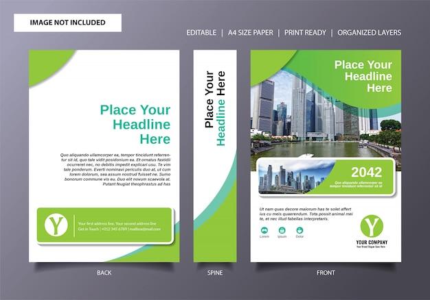 Modèle de couverture de livre fresh green Vecteur Premium