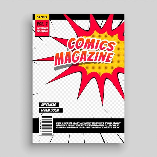 Modèle de couverture de livre magazine comique Vecteur gratuit