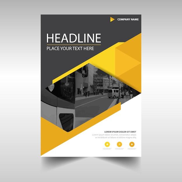 Modèle de couverture de livre de rapport annuel créatif jaune Vecteur gratuit