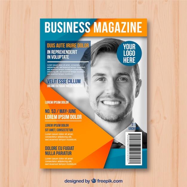 Modèle de couverture de magazine business avec modèle posant Vecteur gratuit
