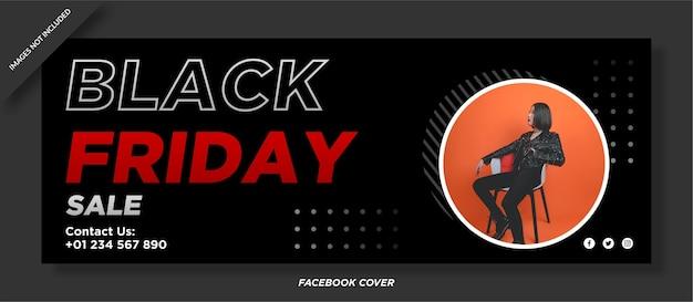 Modèle De Couverture De Médias Sociaux De Vente Vendredi Noir Vecteur Premium