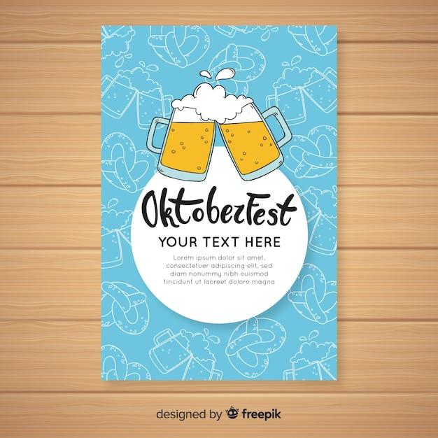 Modèle de couverture oktoberfest dessiné à la main Vecteur gratuit
