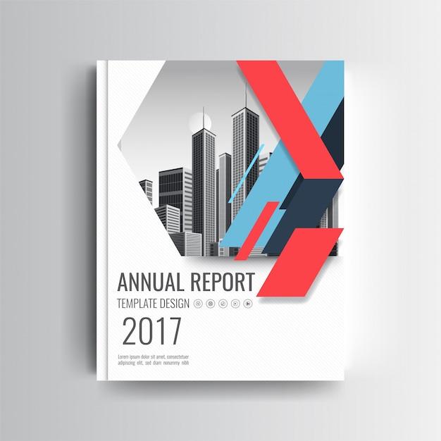 Un modèle de couverture de rapport annuel moderne avec un accent géométrique bleu et rouge Vecteur gratuit