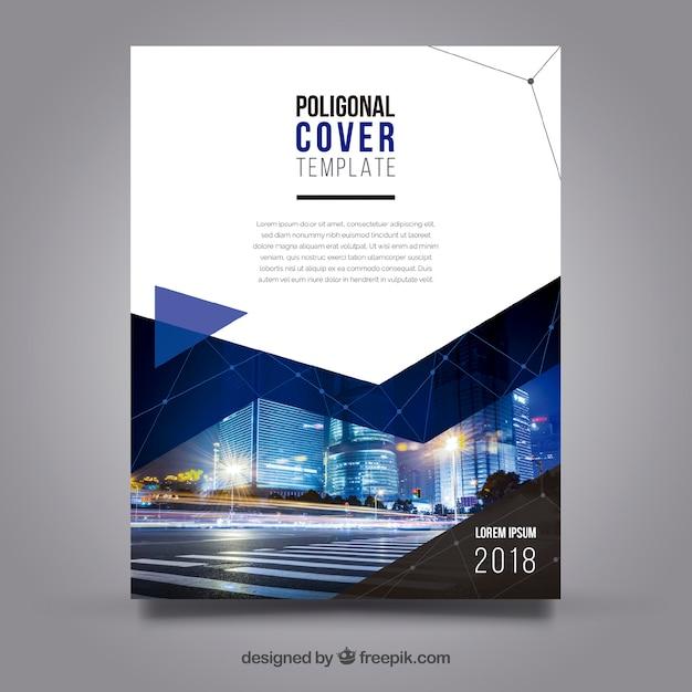 Modèle de couverture avec style polygonal et bâtiments Vecteur gratuit
