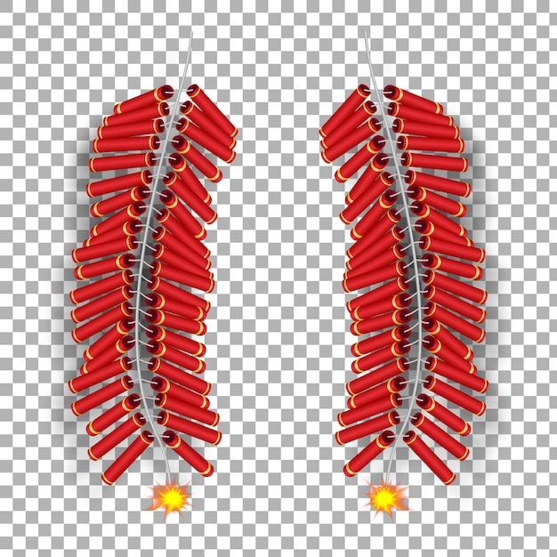 Modèle De Cracker De Feu Brûlant Chinois 3d Réaliste. Vecteur Premium