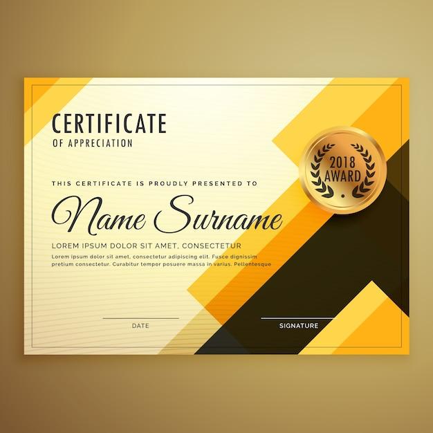 Modèle de création de conception de certificat moderne avec des formes géométriques Vecteur gratuit